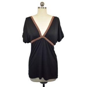 LPavia Womens Black Knit Top Size S-M NWT